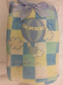 PERSONALISED BABY BLANKET - Blue Balloon - Personalise With a Name/Message Of Your Choice
